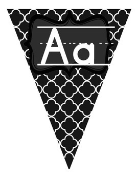 Black and White Manuscript Alphabet Pennant Banner without Pictures