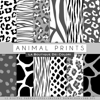Black and White Animal Prints Digital Paper, scrapbook backgrounds.