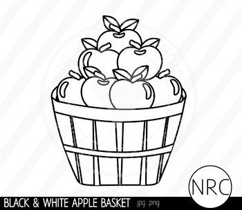 Black and White Apple Basket Clip Art- Commercial Use Clipart