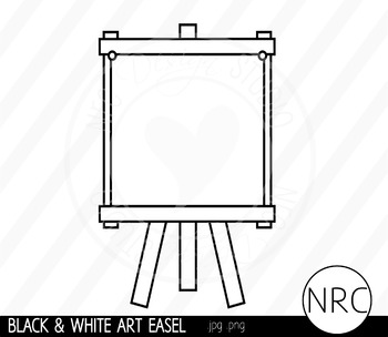 Black and White Art Easel Clip Art- Commercial Use Clipart