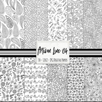 Black and White Artisan Line Art 04 Background Papers, Floral Prints, Flowers