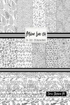 Floral Prints Black & White Flower Digital Background Papers, Artisan Line 04