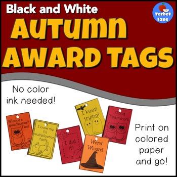 Black and White Autumn Brag Tags