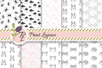 Black and White Baby Animal Seamless Pattern Set. Digital paper pack.
