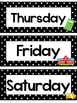 Black and White Back to School Days of the Week Labels.