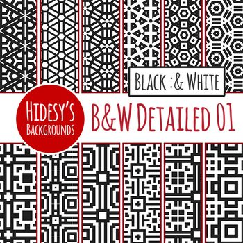 Black and White Backgrounds / Digital Paper Clip Art Set
