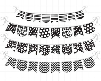 Black and White Banner - Digital Clip Art Graphics (138)