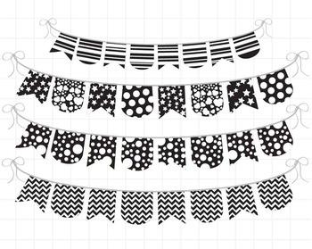 Black and White Banner - Digital Clip Art Graphics (138)
