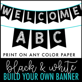 black and white banner letter pennants build your own banner
