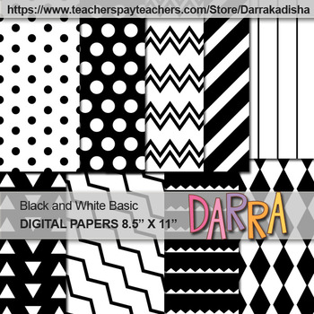 Black and White Basic Background Digital Papers - Black History Month