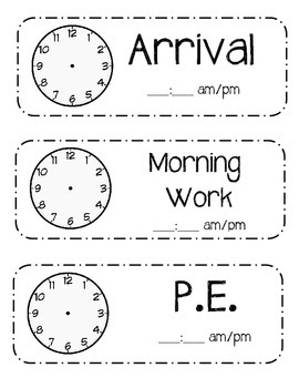 Black and White Basic Schedule Cards