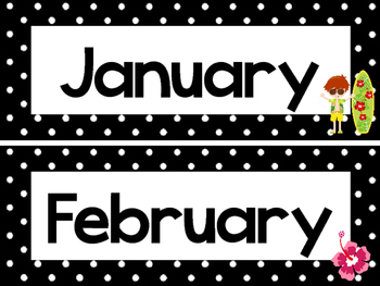Black and White Beach 12 Months of the Year Labels.