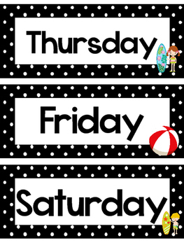 Black and White Beach Days of the Week Labels.
