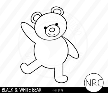 Black and White Bear Clip Art- Commercial Use Clipart