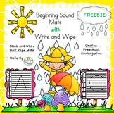 Black and White Beginning Sounds / Write and Wipe Half Sheets FREEBIE