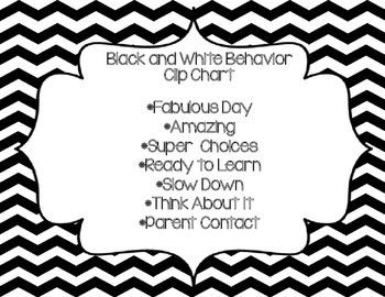 Black and White Behavior Clip Chart