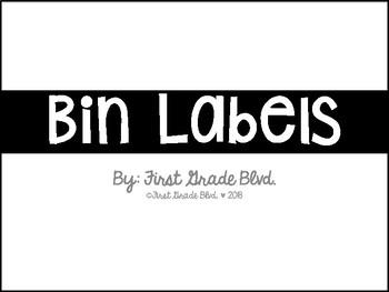 Black and White Bin Labels (Sterlite)