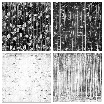 Black and White Birch Digital Papers, Modern Wood Pattern Backgrounds
