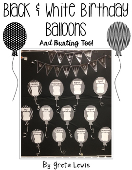 Black and White Birthday Balloons