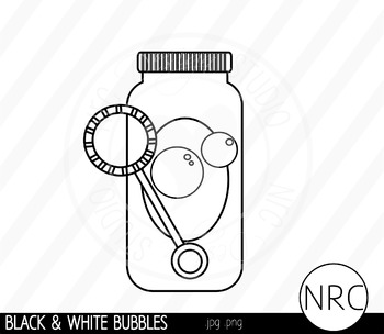 Black and White Blowing Bubbles Clip Art- Commercial Use Clipart