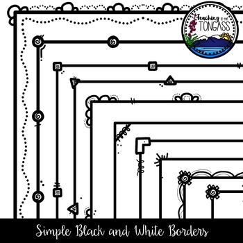 Black and White Skinny Borders Clipart