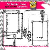 Black and White Borders Zen-Doodles Clipart