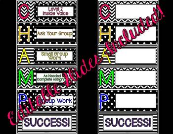 Black and White Bright Editable CHAMPS display.