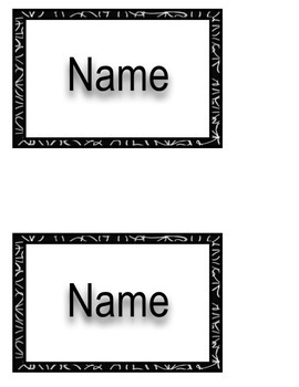 Black and White Bucket Name Labels