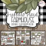 Buffalo Plaid Farmhouse - Editable Classroom Decor