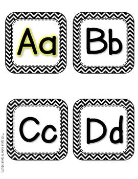 Black and White CHEVRON  Word Wall Headers