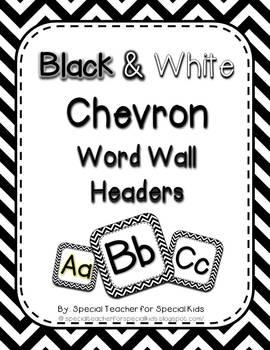 Black and White CHEVRON  Word Wall Headers
