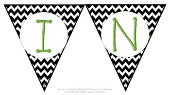 Black and White CHEVRON Writing Center Pennant Banner