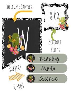 Black and White Cactus Classroom Decor