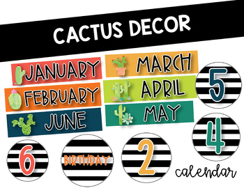Black and White Cactus Themed Calendar