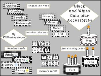 Black and White Calendar Accessories