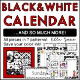 Black and White Calendar Bulletin Board Set