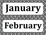 Black and White Calendar Month Titles