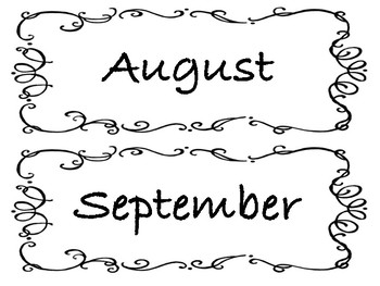 Black and White Calendar Months