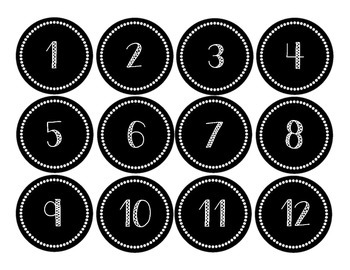 Black and White Calendar Numbers