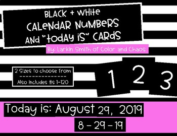 Black and White Calendar Numbers / 2 Sizes