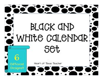 Black and White Calendar Set