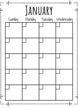 Black and White Calendar Template!