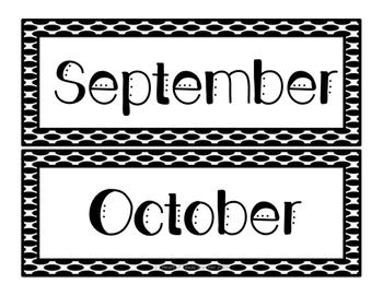 Black and White Calendar and Nameplates Bundle