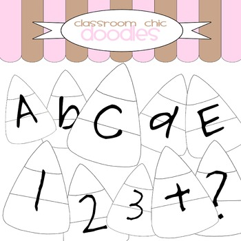 Black and White Candy Corn Alphabet