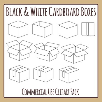 Black and White Cardboard Boxes or Cartons Clip Art Pack f