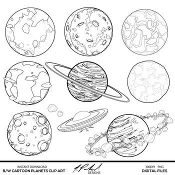 Black and White Cartoon Planets Digital Clip Art