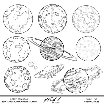 Black and White Cartoon Planets Digital Clip Art