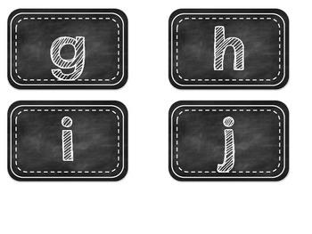 Black and White Chalkboard Alphabet Labels