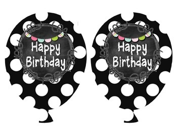 Black and White Chalkboard Birthday Balloons