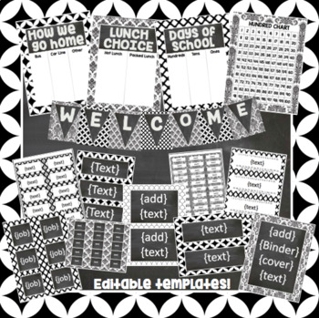 Black and White Chalkboard Classroom Decor Kit